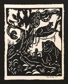 The jungle book by rudyard kipling illustrated by john lockwood sale 20 off jungle book papercut hand cut by tinatarnoff fandeluxe Choice Image