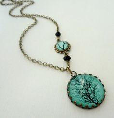 SHOP SALE Aqua Winter Tree Necklace. Black by WearitoutJewelz, $25.00