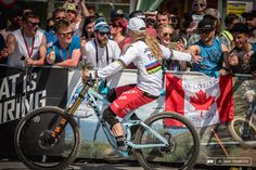 High Fives all around for Rachel Atherton.
