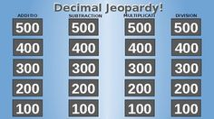 A great review tool for students learning how to add, subtract, divide, and multiply decimals. This jeopardy game is entirely editable - customize it to your needs or simply just play!