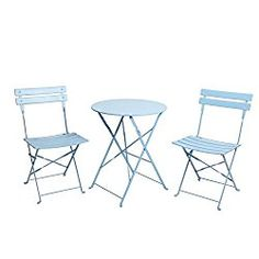Finnhomy 3 Piece Outdoor Patio Furniture Sets, Outdoor Bistro Sets, Steel Folding Table and Chair Set, w/Safe Lock for Indoors and Outdoors Bistro Table Chair Sets,Backyard/Bistro/Patio/Lawn (Blue)