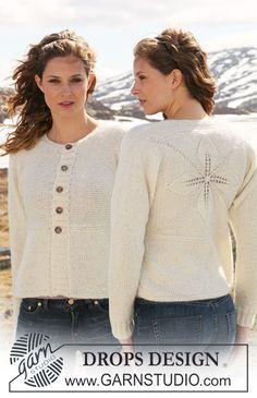"""Casaco DROPS, tricotado em vários sentidos, em ponto meia com motivo fantasia nas costas em """"Alpaca"""" e """"Vivaldi"""" – Tamanhos S – XXXL DROPS design : Modelo n.º Z-445 ~ DROPS Design"""