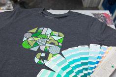 Checking the colors. Evernote Market original T-shirts.