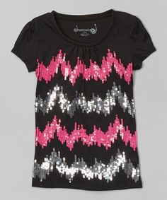 Take a look at the Dreamstar Black Sequin Zigzag Tee - Toddler & Girls on #zulily today!