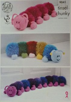 Knitting Pattern Tinsel Centipedes Toy Doorstop Draught Excluder Pattern 9041