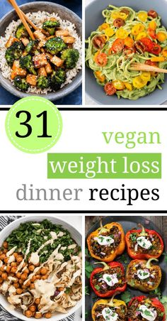 29 Yummy Vegan Weight Loss Recipes for Dinner [Healthy, Fat Burning] Slim down with these vegan weight loss recipes! They are perfect as a part of a fat loss diet, for lunch or dinner as they are delicious and filling. Healthy eating has never been more f Healthy Dinner Recipes, Whole Food Recipes, Plant Based Dinner Recipes, Vegan Recipes Plant Based, Vegan Lunches, Healthy Vegetarian Dinner Recipes, Plant Based Meals, Plant Based Whole Foods, Diner Recipes