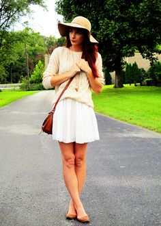Nude sweater, white chiffon skirt, flats, crossbody and floppy hat