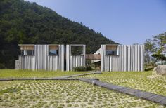 Hanil Cement Information Center and Guesthouse by BCHO Architects Associates, Maepo-eup, Danyang-gun, South Korea Architecture Student, Sustainable Architecture, Modern Architecture, Tropical Architecture, Recycled Concrete, Plan Maestro, Landscape Materials, Concrete Structure, Information Center