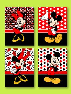 Mickey Mouse and Minnie Mouse Wall Art by SnazzyZebraGalleria Minnie Mouse Room Decor, Minnie Mouse Theme, Mickey Mouse, Baby Shower Deco, Disney Canvas, Baby Canvas, Disney Rooms, Disney Theme, Baby Art