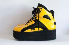 VTG 90s org. Buffalo Platform Sneakers - Laquer / Rare model / EU 38 / US 7.5. $190.00, via Etsy.
