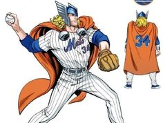 Marvel and the Mets are honoring Noah Syndergaard with his own Thor bobblehead, but that's not the only superhero promotion in Major League Baseball this year. Major League Baseball Teams, Mlb Teams, Ny Mets, New York Mets, Batman Versus, Super Hero Day, Branding, Dc Movies, Marvel Entertainment