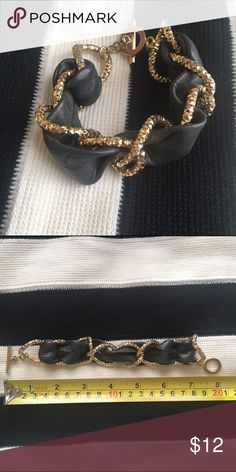 Grey Faux Leather + Gold Bracelet Gently worn pre-loved bracelet. See measurements in pic.  ***Offers welcomed. Ships within 1 business day. Bundle and save! Jewelry Bracelets