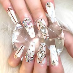 + 60 Trendy Acrylic Nails Designs You Must Try Nail Art trendy nails designs acrylic Glam Nails, Hot Nails, Beauty Nails, Ongles Bling Bling, Bling Nails, White Acrylic Nails, Glitter Nail Art, Fabulous Nails, Gorgeous Nails