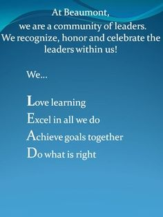 Mission statement for leader in me