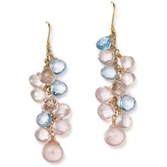 Rose Quartz and Blue Topaz Briolette Drop Earrings in 14K Yellow Gold... ($252) ❤ liked on Polyvore featuring jewelry, earrings, gold jewellery, 14 karat gold jewelry, bloomingdales earrings, gold jewelry and gold earrings