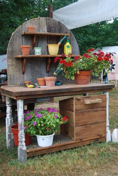 Garden Table Potting Awesome Potting Benches For Every Gardener Shelterness. Coral Coast Courtyard Rustic Potting Bench At Hayneedle. Build A Garden Potting Bench Woodworking With FREE . Home Design Ideas Potting Bench Plans, Potting Tables, Potting Sheds, Potting Soil, Garden Table, Garden Pots, Garden Sheds, Pallet Garden Benches, Potting Station
