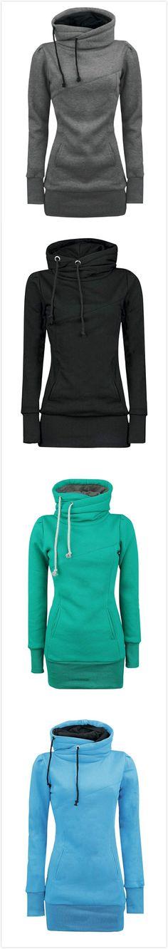 Women's Solid Turtle Neck Long Sleeve Kangaroo Pocket Sweatshirt