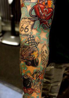 Tattoo Trends – Sleeve Tattoo Designs And Ideas-Sleeve Tattoo Themes… Rockabilly Stil, Rockabilly Tattoos, Rockabilly Fashion, Rockabilly Tattoo Designs, Half Sleeve Tattoos Designs, Full Sleeve Tattoos, Tattoo Designs Men, Art Designs, Theme Tattoo