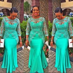 Green Long Sleeves Evening Gowns Sheer Neck Lace Appliques Beads Mermaid Prom Dress African Plus Size Party Dress Formal Vestidos African Evening Dresses, African Print Dresses, Mermaid Evening Dresses, African Fashion Dresses, African Attire, African Dress, African Prints, Ghanaian Fashion, Nigerian Fashion