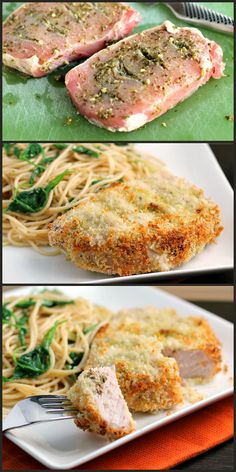 Pesto Stuffed Oven Baked Pork Chops: Ingredients: 4 center-cut pork chops ⅓ c. pesto 2 eggs freshly ground black pepper 2 c. Pork Recipes, Cooking Recipes, Healthy Recipes, Healthy Appetizers, Recipies, I Love Food, Good Food, Best Comfort Food, Comfort Foods
