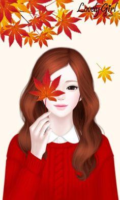 러블리걸(낙엽엔딩) 카카오톡 테마-멜로우J/Mellow J : 네이버 블로그