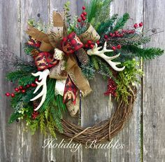 Beautiful Christmas wreath with rustic look. Perfect for your front door!                                                                                                                                                                                 More