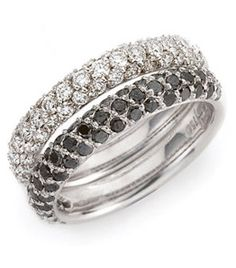 18ct White Gold Diamond Dress Rings      Diamond bands featuring white and black round brilliant cut diamonds thread and grain set in three rows.    Can also be made in platinum or yellow gold.    Available individually.