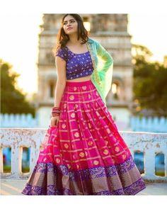 pink printed banglori silk festival lehenga choli WhatsApp us for Purchase & Half Saree Lehenga, Saree Gown, Lehnga Dress, Bridal Lehenga Choli, Sari, Silk Lehenga, Indian Lehenga, Lehenga Blouse, Blue Lehenga