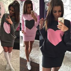 d4fa48739f6d 2016 Women Fashion Heart Print Dress Winter Warm Cotton Bodycon Long Sleeve  Dress-in Dresses from Women s Clothing   Accessories on Aliexpress.com