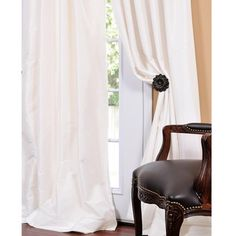 @Overstock - Add a romantic touch to any window dressing with this 96' x 50' taffeta faux-silk curtain panel in a soft cream color that will blend in with many different color schemes. The fabric has a unique sheen that offers an understated elegance in any room.http://www.overstock.com/Home-Garden/Signature-Cream-Faux-Silk-Taffeta-96-inch-Curtain-Panel/5121594/product.html?CID=214117 $99.99