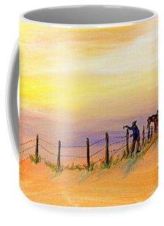 """""""Fix On The Prairie"""" Hand drawn with ink by Texas artist William L. Buckingham.  Digitally mastered by Erich Grant.  Now it's on your coffee mug.  This image is also available in custom framed prints of all sizes.  Ready to hang on your office or home walls upon delivery."""