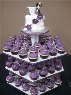 Purple cupcake wedding cake