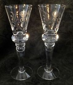 "$19.99 starting bid. Gustav III crystal cordial glasses set of 2 reproduction 6 3/4"" high MINT"