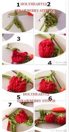 Crochet Strawberry Stitch Tutorial ⋆ Crochet Kingdom The Effective Pictures We Offer You About Crochet dishcloth A quality picture can tell you many things. Crochet Diy, Crochet Flower Tutorial, Crochet Motif, Crochet Crafts, Yarn Crafts, Crochet Flowers, Beginner Crochet Projects, Crochet For Beginners, Crochet Square Patterns