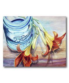 Orange Flowers & Mason Jar Wrapped Canvas   zulily