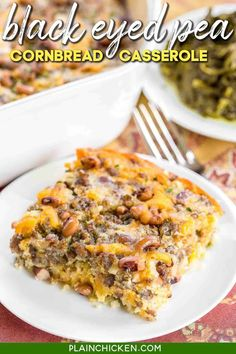 Black Eyed Pea Cornbread Casserole recipe - homemade cornbread loaded with sausage, creamed corn, cheddar cheese, black eyed peas, green chiles, and jalapeños. Perfect for your New Year's Day meal! Can make ahead of time and freeze for up to a month. Everyone LOVES this easy one-pan meal! #casserole #cornbread #freezermeal Grub Recipes, Side Recipes, Sausage Recipes, Cooking Recipes, Fun Cooking, Pork Casserole, Cornbread Casserole, Casserole Recipes, Jiffy Cornbread