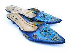 #Vintage #Ombre #Blue #Beaded And #Embroidered #Bollywood #Style #Shoes