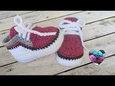 Baskets bébé 2/2 / Zapatitos bebe a crochet parte - YouTube