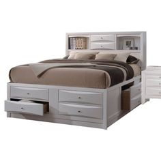 Streamline your bedroom for a transitional look with the Acme Furniture Ireland Platform Bed . This gorgeous bed frame features plenty of built-in storage. Full Bed With Storage, Storage Bed Queen, Bed Storage, King Size Storage Bed, Acme Furniture, Kids Bedroom Furniture, Gothic Furniture, Furniture Outlet, Online Furniture