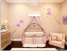 Above Laura's crib - we can make this.  Celebrity Nursery for Mel B by Little Crown Interiors - traditional - kids - los angeles - Little Crown Interiors