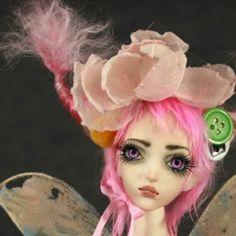 "Porcelain FORGOTTEN HEARTS BJD Ball Jointed Doll ""Borrower Pixie"" Flower Nixie"
