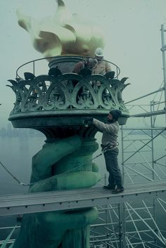 "The ""new"" torch of the Statue of Liberty; the 1984 renovation restored the original design (replaced in 1916)"