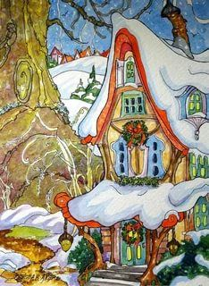 """Daily Paintworks - """"The Fairy Inn Come Wintertide Storybook Cottage Series"""" - Original Fine Art for Sale - © Alida Akers Cute Cottage, Cottage Art, Painted Cottage, Christmas Colors, Christmas Art, Watercolor Illustration, Watercolor Art, Storybook Cottage, Fantasy Drawings"""