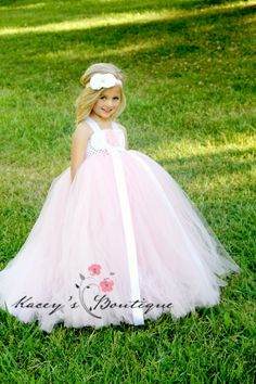 Pink+Flower+Girl+Dress+with+Train++NB+to+5T+by+KaceysBoutique,+$104.95