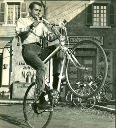 Dean Jones pops a wheelie. bicycle famous celebrity bike