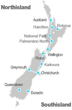 New Zealand national passenger rail map