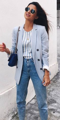 how to style a stripped top bag   blush blazer   jeans