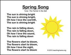 Songs for Preschoolers Spring song, I like it butI might need to alter it a bit for toddlers.Spring song, I like it butI might need to alter it a bit for toddlers. April Preschool, Preschool Music, Preschool Lessons, Preschool Classroom, In Kindergarten, Preschool Activities, Spring Songs For Preschool, Spring Songs For Kids, Preschool Poems