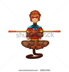 Illustration: The Monkey King - Hero is Back! Element / Character Design - Fantastic / Cartoon / Sci-Fi Style  - stock photo