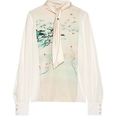 LanvinSilk-satin Trimmed Printed Silk-gerogette Blouse (€1.645) ❤ liked on Polyvore featuring tops, blouses, ivory, polka dot blouse, neck-tie, tie neck tie, silk blouse and white tie neck blouse
